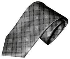 NWT BRIONI SILVER GRAY TONES FANCY PLAID 100% SMOOTH SILK NECK TIE