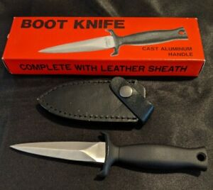 NOS Stainless Steel Boot Knife With Leather Sheath