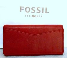 RED VELVET LEATHER FOSSIL CAROLINE CLH WALLET/CLUTCH NEW WITH TAGS, GORGEOUS!