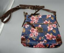 DOONEY & BOURKE canvas crossbody shoulder bag blue/pink floral