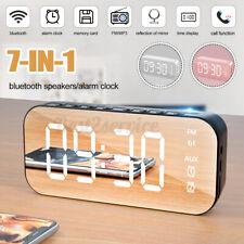 7 in1 Mirror Digital Alarm Clock Wireless bluetooth Speakers MP3 FM Radio   @