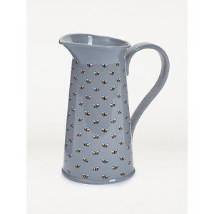 Grey Bee Pattern Tall Ceramic Jug Vase Bumble Bee Free P+P
