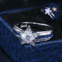 Star White Silver Ring Fashion Wedding Women 925 Sapphire Size6-10