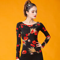 NEW Women Top for Latin salsa cha cha tango Ballroom Dance#W690 Flower printed