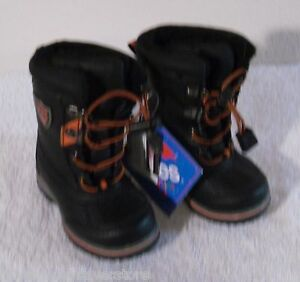 NWT Totes Ryan Toddler Boys Insulated Winter Boots 5 Black/Orange MSRP$40
