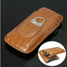 Cigar Travel Case Humidor Holder Brown Crocodile Leather 3 Tube + Cutter Gift