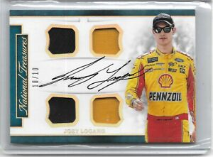2017 NATIONAL TREASURES RARE 10/10 JOEY LOGANO QUAD MATERIALS AUTOGRAPH NASCAR