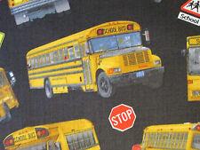 SCHOOL BUS SCHOOL SIGNS BLACK COTTON FABRIC 15 Inch Scrap Cut