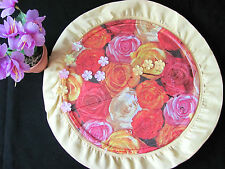 HANDMADE GLASS DECORATIVE PLATE ACRYL MULTI COLORS WITH FABRIC EDGE+ FLOWERS S