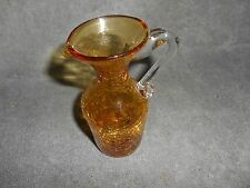 Amber - Crackle Glass Pitcher With Clear Applied Handle