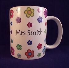 Personalised Coloured Flowers - Coffee Mug - Thank You Teacher - Birthday - Gift