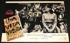 Franco Citti Pier Paolo Pasolini UNA VITA VIOLENTA fotobusta originale 1962 #1