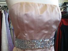 DEBUT/DEBENHAMS PALE PINK SATIN STITCH COCKTAIL/BRIDESMAID/CRUISE DRESS 12/10