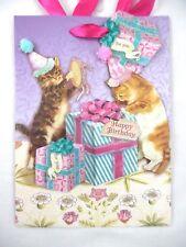 "Punch Studio 3D Kittens Birthday 8 1/2"" Pom Pom and Glitter Embellished Gift Bag"