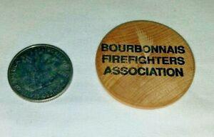 Vtg Bourbonnais Illinois Firefighters Association Wooden Smiley ADVERTISING Disc