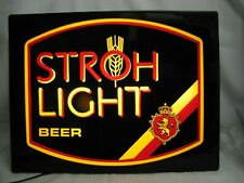 "Rare Vtg. Strohs Beer Neo Plastic Light Up Sign Game Room Man Cave 21"" x 16"""