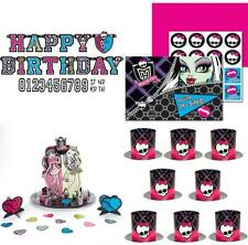 26pc Monster High Birthday Pack: Banner, Invitations, Top Hats & Table Decor Kit