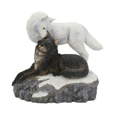 Snow Kisses Black and White Wolf Figurine