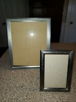 Pewter? Set of Silver Ornate Etched 8 x 10 &4 x 6 Picture Frame EUC Rear Loading