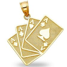 Poker Four Aces Pendant Solid 14k Yellow Gold Playing Cards Charm Good Luck