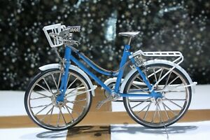 1/10scale Blue & White Women's Bicycle with working breaks Basket on front