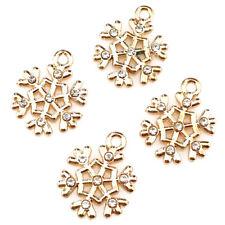 Xmas Snowflake Diy Jewelry 22318 10pcs Gold Christmas Pendant