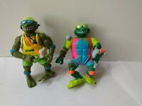 Teenage Mutant Ninja Turtles Sewer Surfer Michelangelo+Leo Figure Playmates 1990