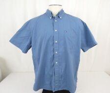 Tommy Hilfiger Men Dress Shirt Size XXL Strip Blue Short Sleeve