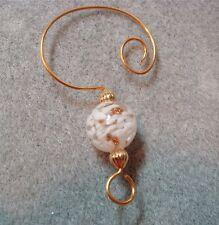 =^..^= 10 Encased White Snow Glass Bead Ornament Hangers Hooks Enhancers gold