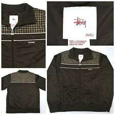STUSSY Men's Full Zip Up Running Track Jacket Plaid Brown White Skate Sz M
