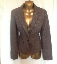 Dogtooth Check Hacking Jacket Wool Blend Size 10
