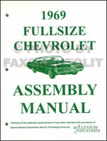 1969 Chevy Factory Assembly Manual 69 Impala Caprice Bel Air Biscayne Chevrolet