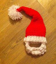 Mano Crochet / tejidos Navidad Traje De Santa Sombrero Y Barba Set / foto Prop 0-3