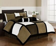 Black Brown White Microsuede Patchwork 7-Piece Duvet Cover Set, King