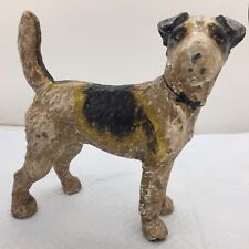 Rare Vintage Cast Iron Wire Hair Fox Terrier Dog w/ BowTie Collar Door Stop/Bank