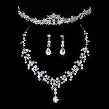 Wedding Bridal Pageant Prom Shiny Jewelry Set Rhinestone Tiara Necklace Earrings