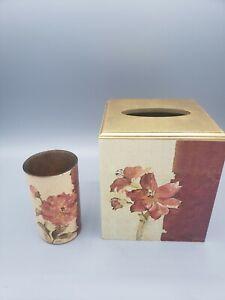 Floral Chinoiserie Chinese Motif Cheri Blum Tissue Box & Glass Tumbler Red Cream