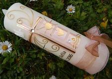 Taufkerze Kerze zur Taufe Kreuz rosa gold Taufkerzen für Mädchen handmade