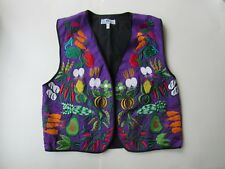 The Daily Planet Vest Art to Wear Embroidered Vegetable Women L Farmer Market