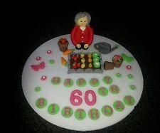 Edible lady gardener vegetable garden  birthday cake topper/decoration,
