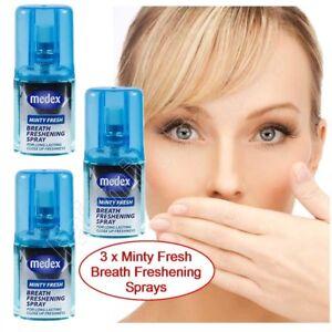 3 X Medex 20ml Minty Fresh Breath Freshener Mouth Spray Bad Breath Long Lasting