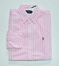NWT Men's Ralph Lauren Casual Long-Sleeve Oxford Shirt, Pink, White, L, Large