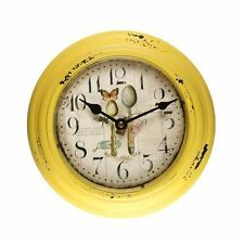 Yellow Iron Old World-Inspired Circular Wall Hanging Clock with Spoons Design