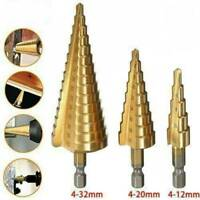 5Pack HSS Step Large Titanium Cone Drill Hole Cutter Bit Tool Set With Case NEW