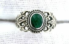 Oval Malachite Cab Cabochon Gemstone Gem Filigree Sterling Silver Ring Size 5