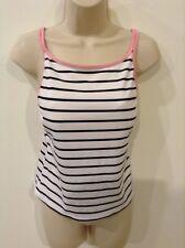 Womens St Johns Bay Black White Striped Print Tankini Swim Top Size 16