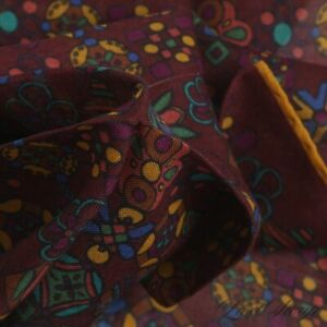 #1 MENSWEAR Drakes Made Italy Silk Wool Wine Abstract Mosaic Pocket Square NR