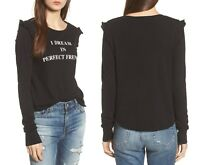 Wildfox Couture Brand I Dream in Perfect French Ruffle Pullover Sweater Tee Top