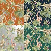 Holden Decor Jungle Animals 10m Wallpaper Orange Pink Navy Green  Available