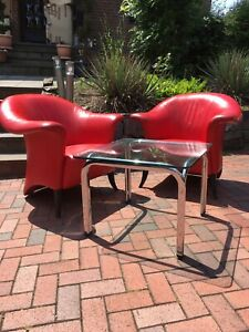 Rolf Benz Design Sessel , Echt Leder Rot